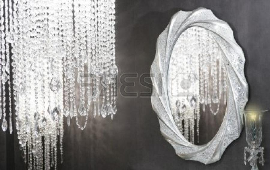 Crystal strass lamp oval mirror modern decoration on black wall