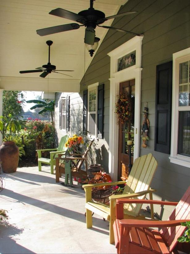Coastal House Front Porch With Adirondack Chairs