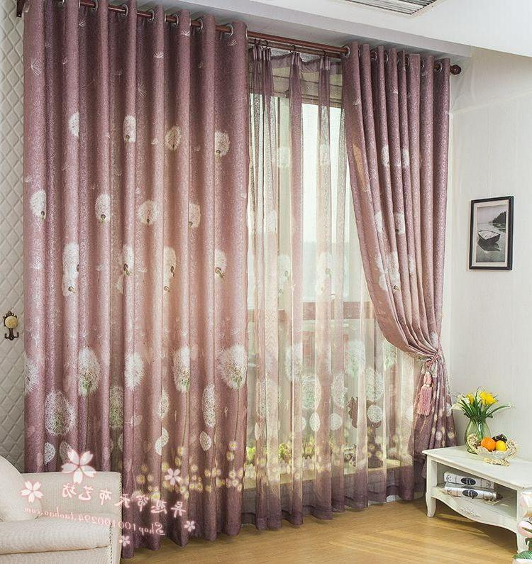 Violet Printed Rustic Style Finish Curtain Design