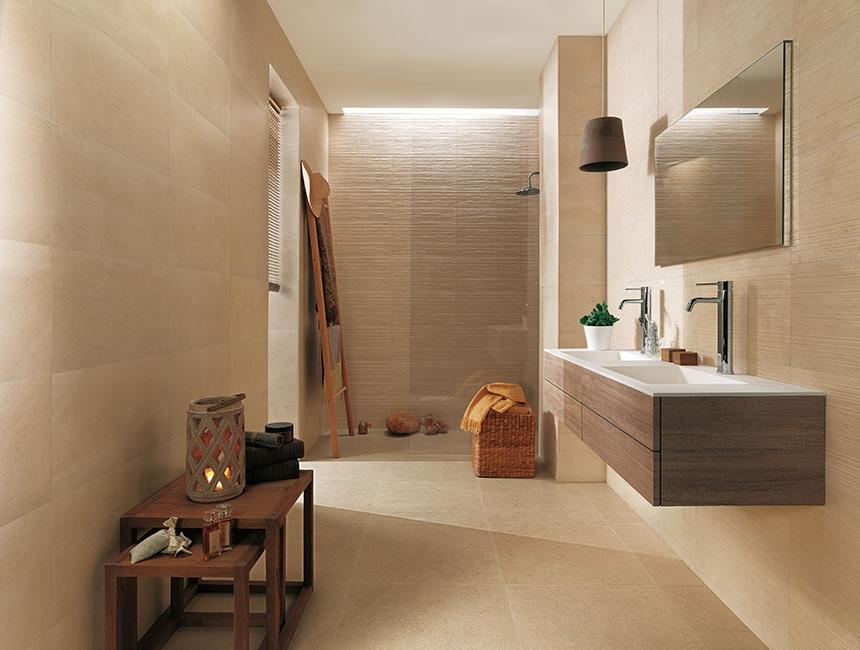 Bathroom:Calming Beige Bathroom Decor Mixed With Wooden Table...