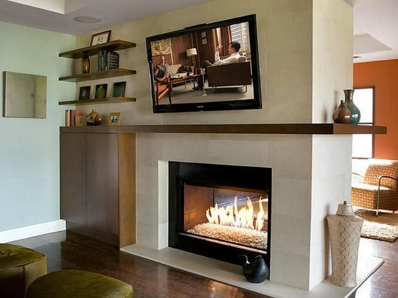 different design of the double sided fireplace modern double