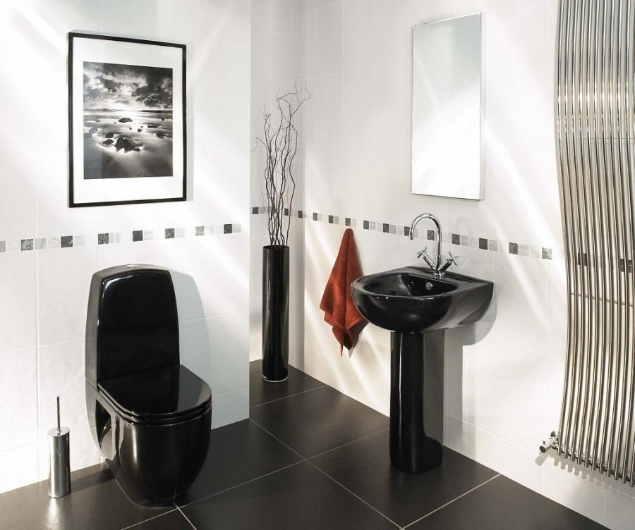 Интерьеры туалетов в черно-белых тонах
