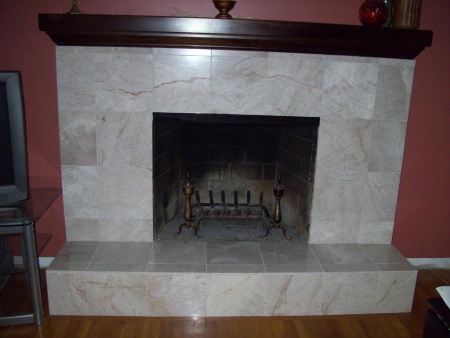Brick fireplace refacing photos