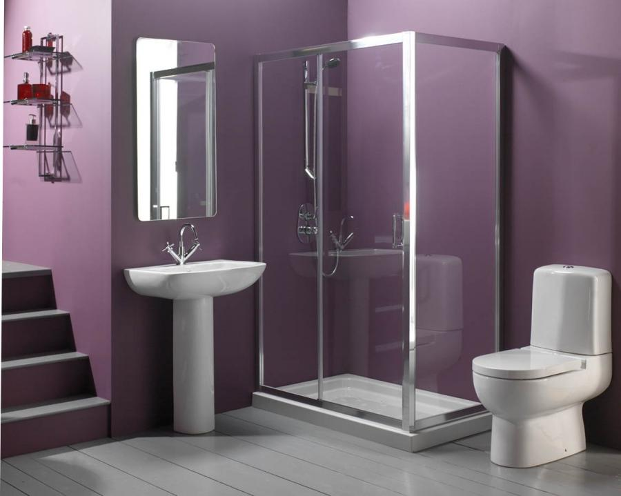 Bathroom Ideas:Purple Wall Paint Modern Bathroom Sinks Ideas...