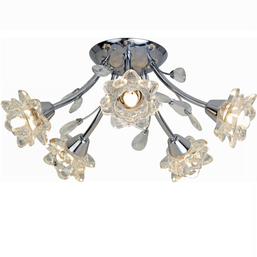 Ruby 5 Floral Glass Shades Chrome Ceiling Light