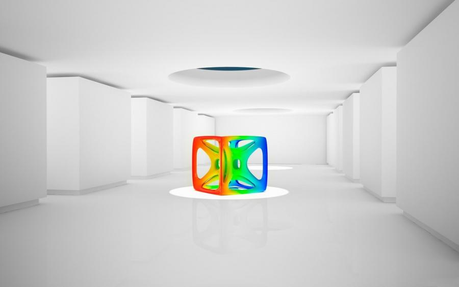Colorful cube in the middle of white room 1280x800 wallpaper...