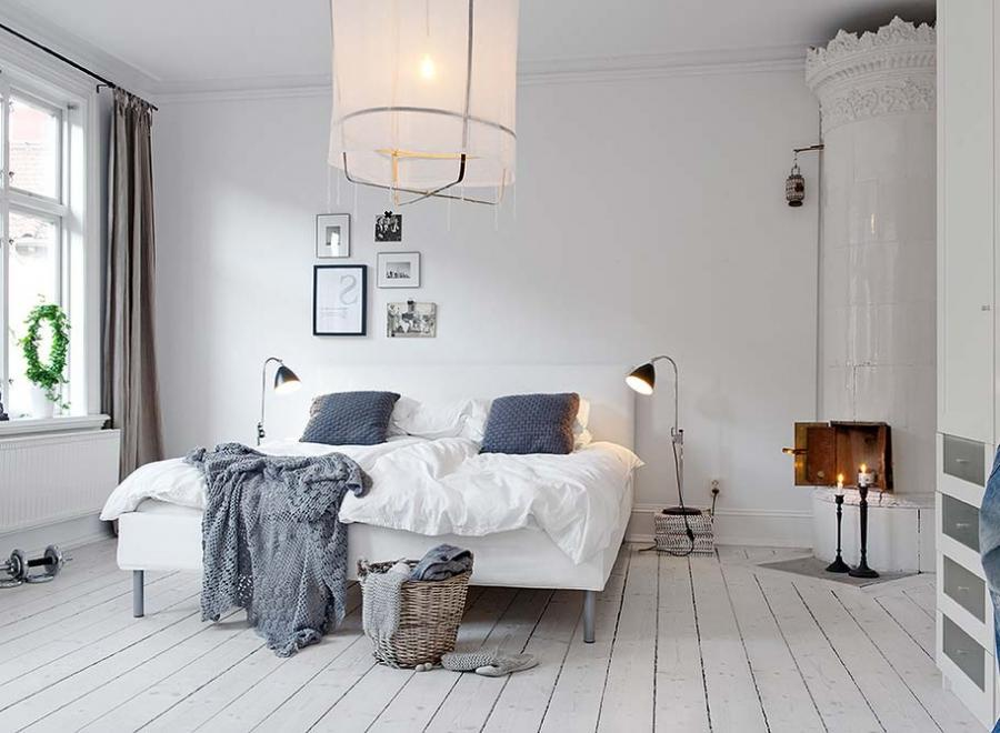 Good Looking Cozy Bedroom With Traditional Corner Fireplace And A...