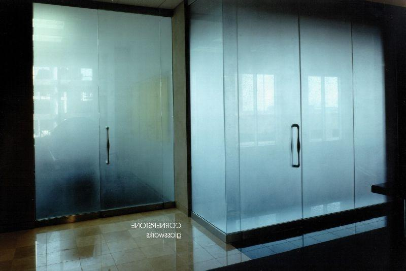 Etched glass walls anmd doors.