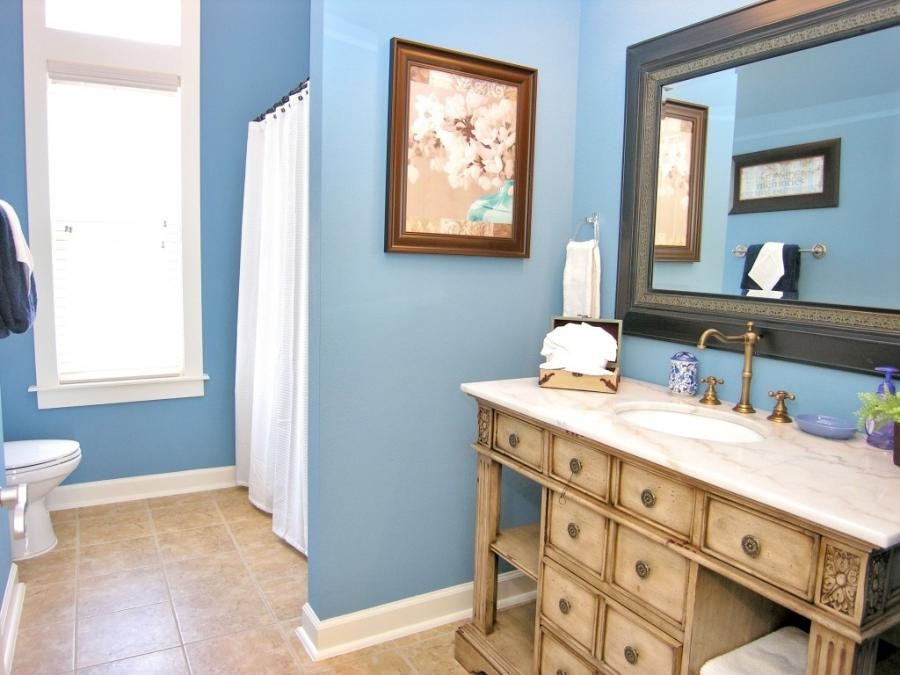 ... Awesome Bathroom Paint Ideas Blue Design With Brown Wooden...