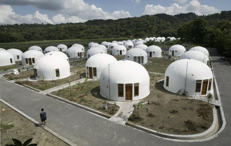 70 dome houses were built for villagers