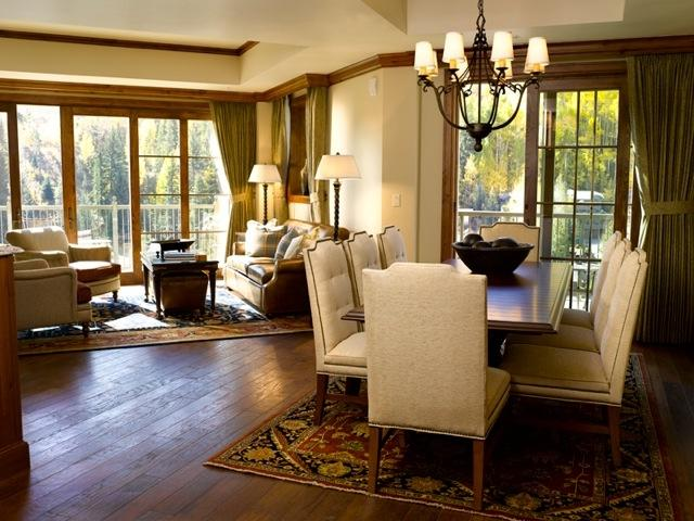 The Ritz Carlton Vail vacation condos offer spacious living rooms...