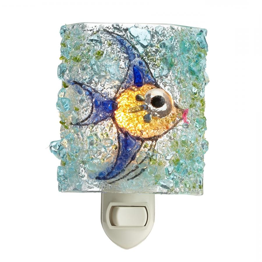 RECYCLED GLASS ANGEL FISH NIGHT LIGHT ...