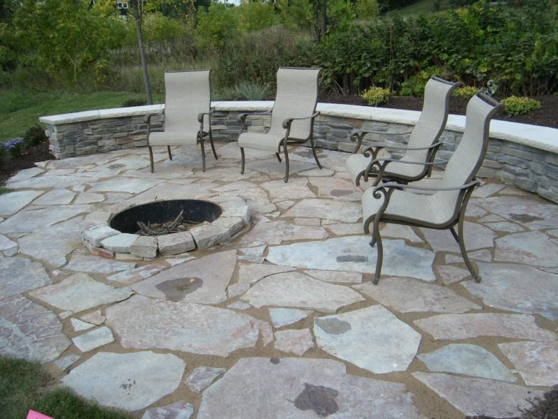 Outdoor Paver Firepit with 3u0026#39; Metal Fire Ring. Fieldstone...