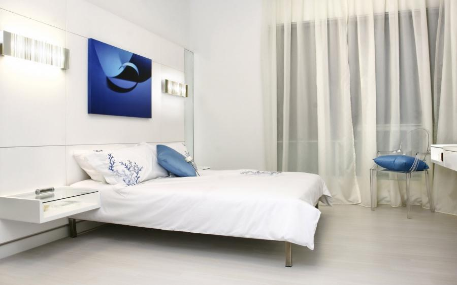 Bedroom Modern Blue White Bedroom Interior Design
