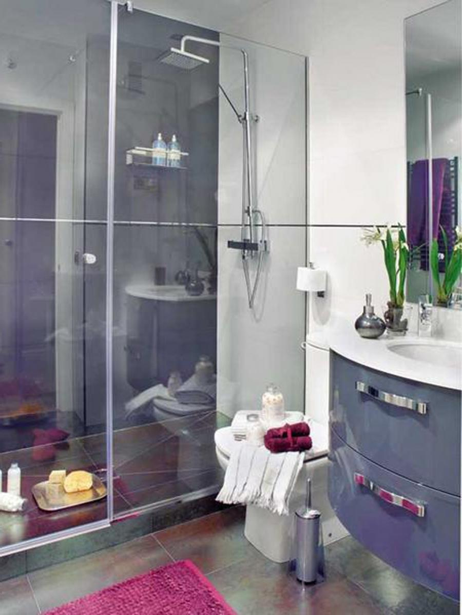 Fascinating Purple Small Bathroom Decorating Ideas : Purple Small...