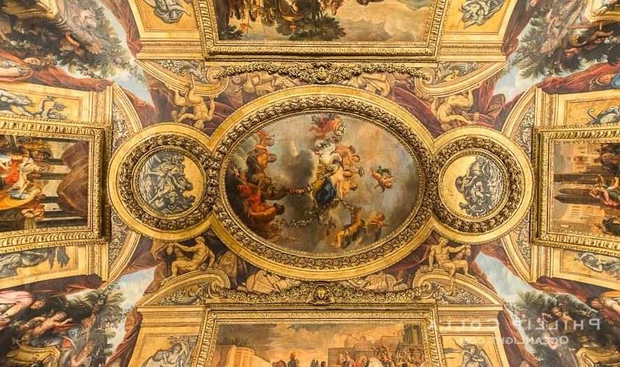 Ceiling art detail, Chateau de Versailles, Paris, France