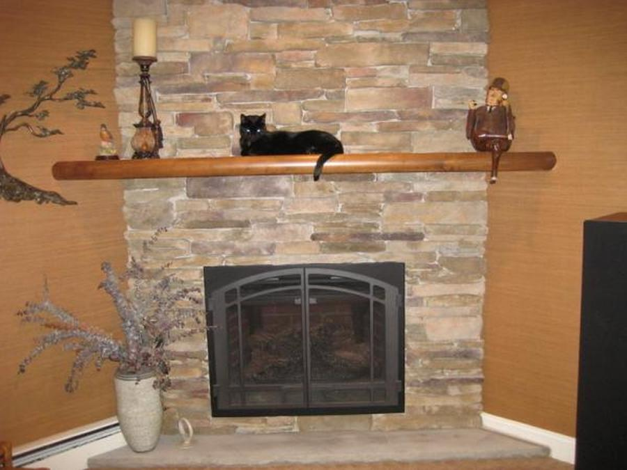 Architecture : Alluring Stacked Stone Fireplace Surround Style...