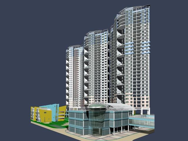 High rise apartment residential building 3d model