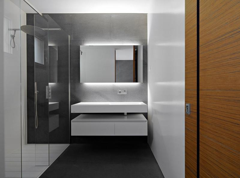 Architecture: White Washbasin Above White Table Near Shower Area ...