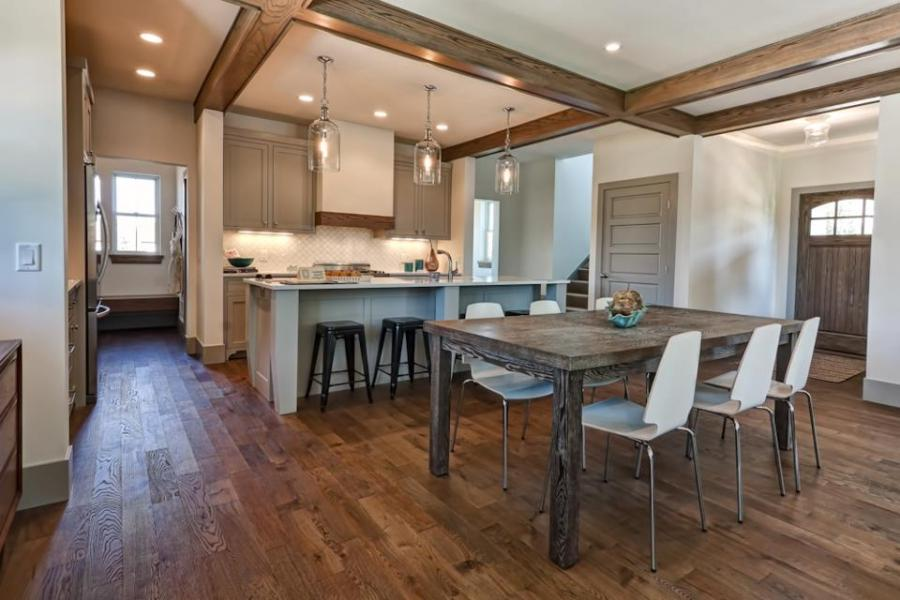 Kitchen hardwood flooring photos for Hardwood in kitchen pros and cons