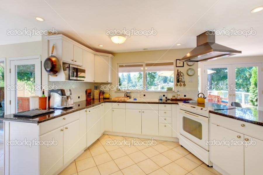 White Kitchen Decoration With Beige Floor And Window listed in: