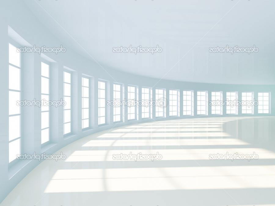3d Illustration of White Room Interior with Windows u2014 Photo...
