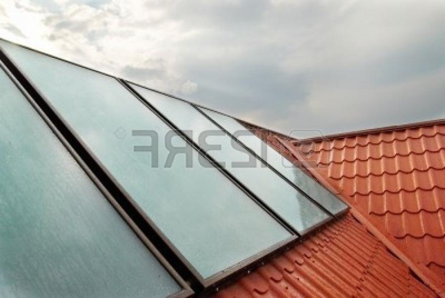 Solar panel (geliosystem) on the house roof.
