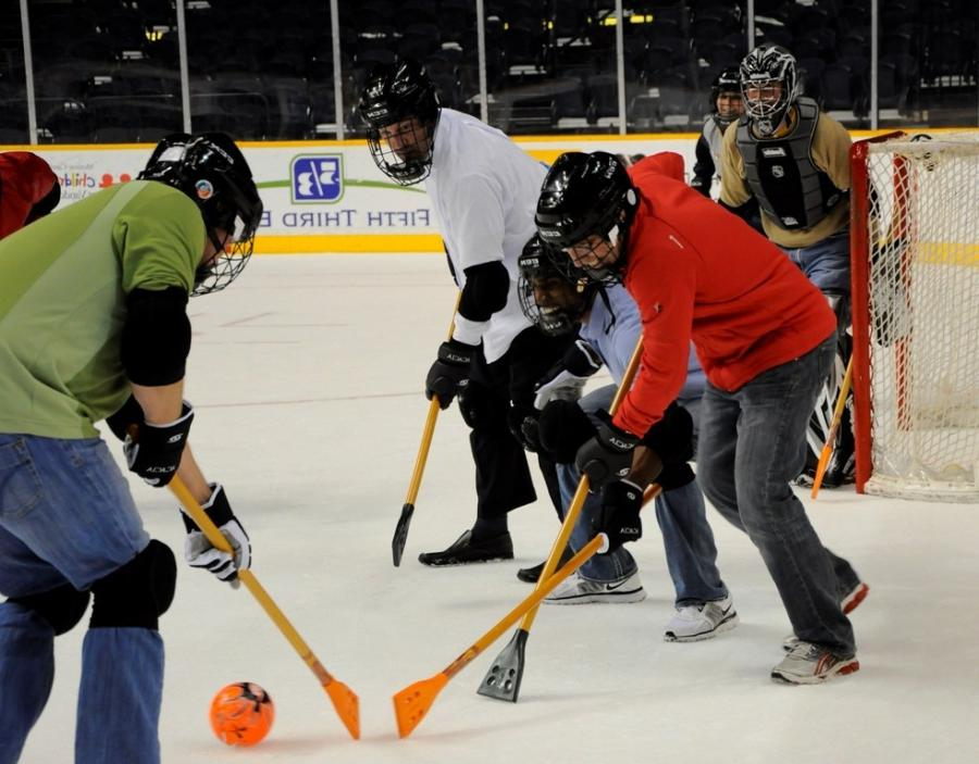 Broomball is played on a lake, a pond, an ice hockey rink or gym...