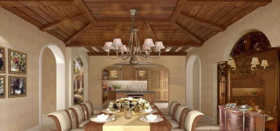 Classic American Interior Wooden Decoration Art Rendering Dining