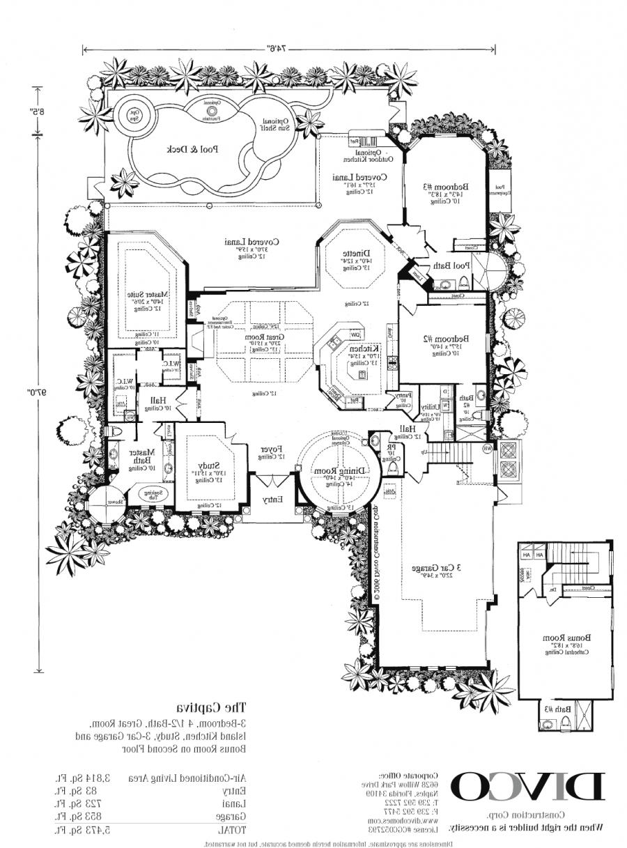 Luxury home floor plans with photos for Custom home floor plans florida