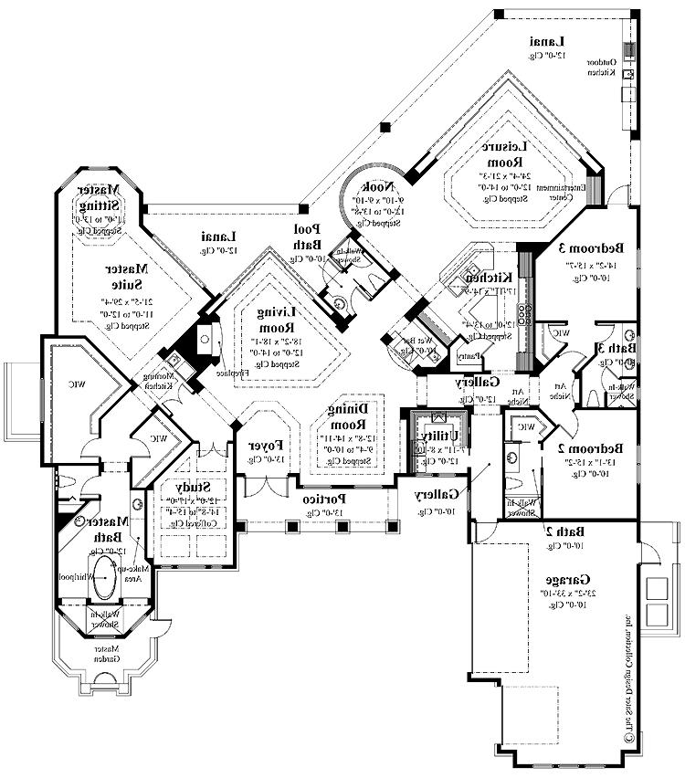 Italian house plans with photos for Sprawling ranch floor plans
