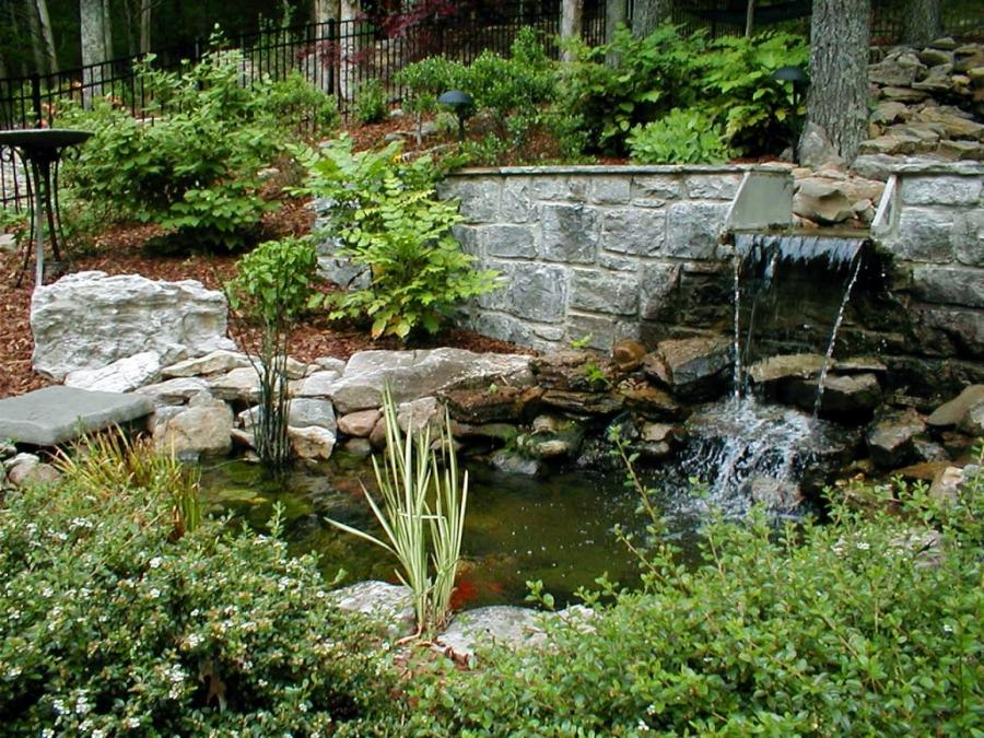 Water garden ponds photos waterfalls for Pond water features waterfalls