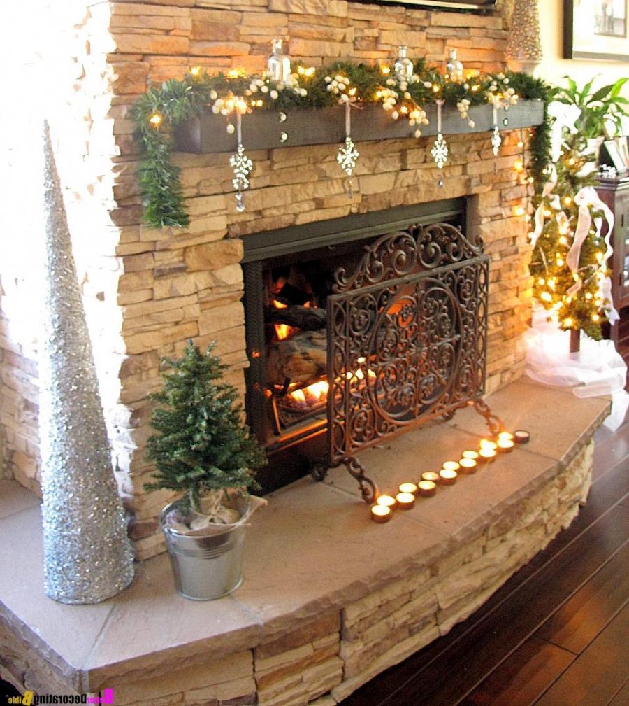 47 Fireplace Designs Ideas: Fireplace Mantel Christmas Decorating Ideas Photos