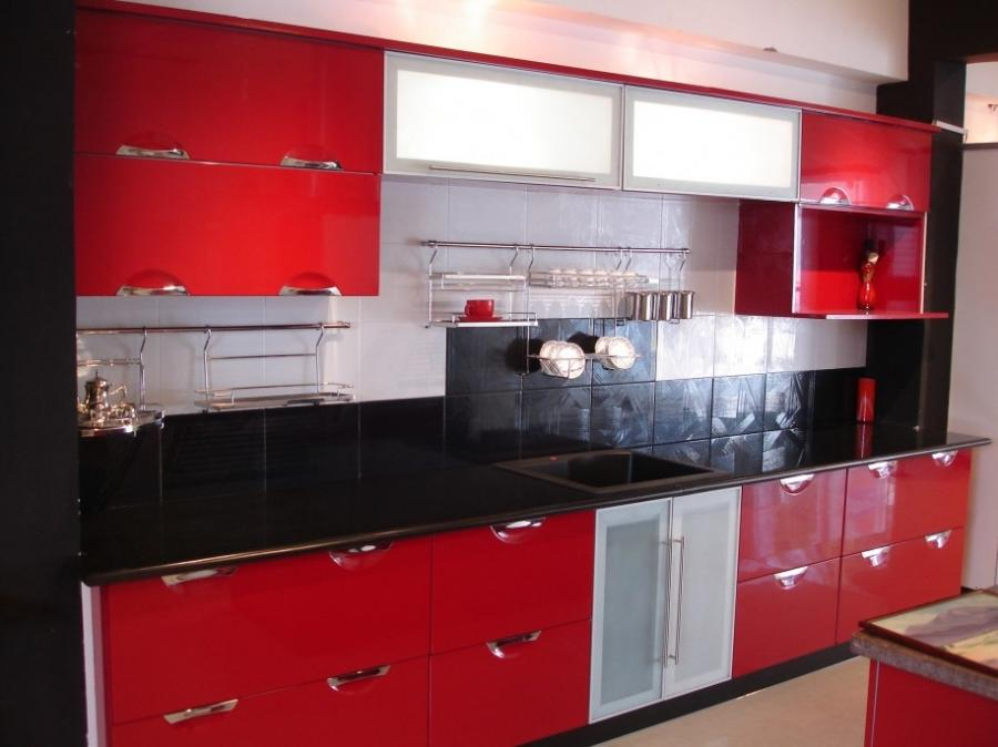 Black white and red kitchens photos for Red and white kitchen designs