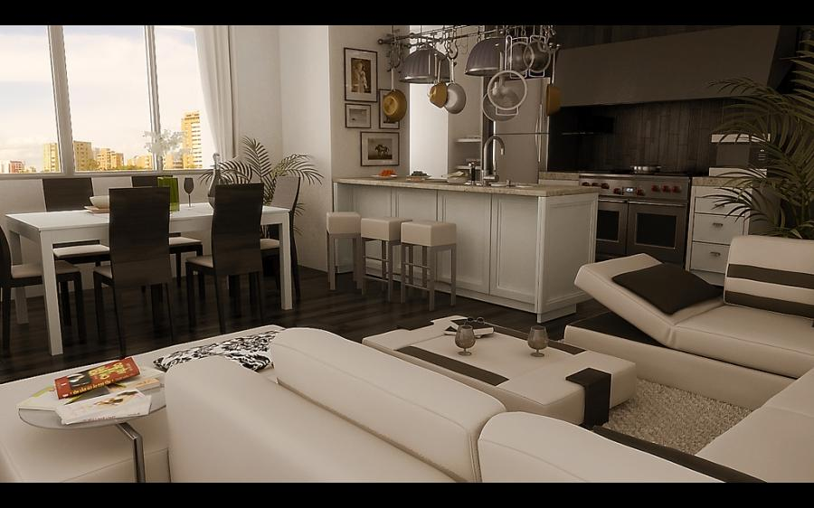 Idea Modern Dining Area Open To The Living Room listed in: