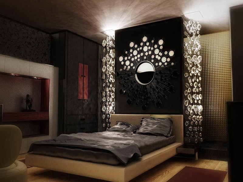 Black Bedroom Decorating Ideas With Circle Decor