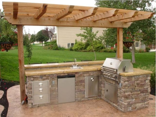 Outdoor kitchen layouts and photos for Simple outdoor kitchen designs