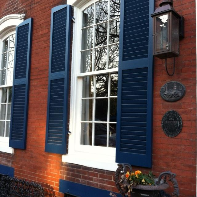 White House Gray Shutters Blue Door