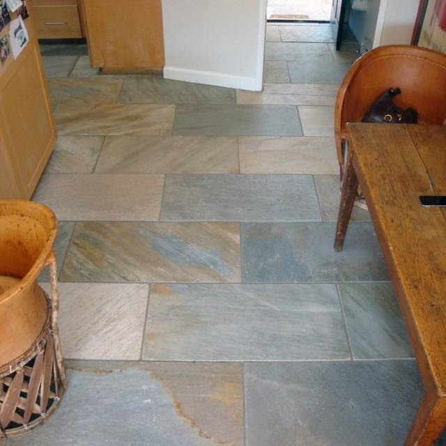 Stone flooring Cumbrian Slate in a kitchen.