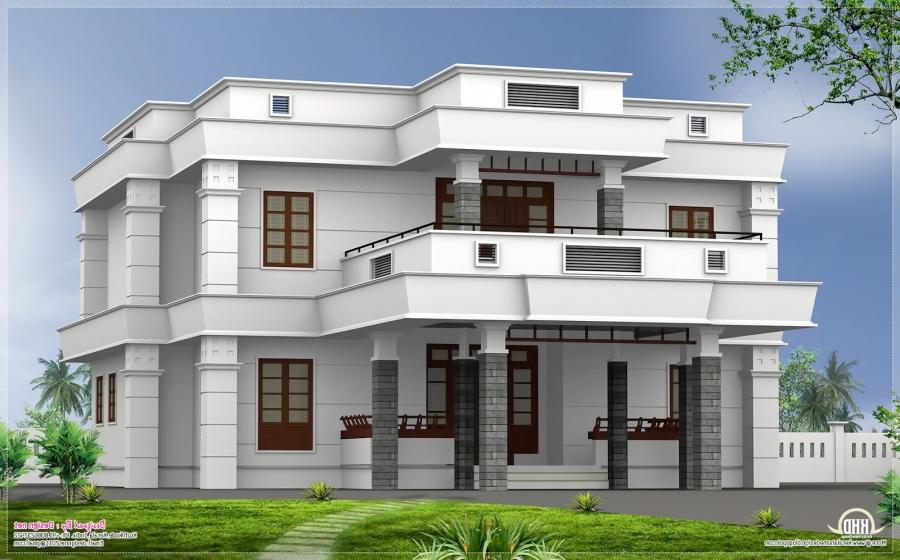 flat roof house elevation photos in kerala style