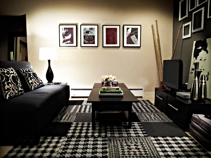 Black white photography room for Black and pink living room designs