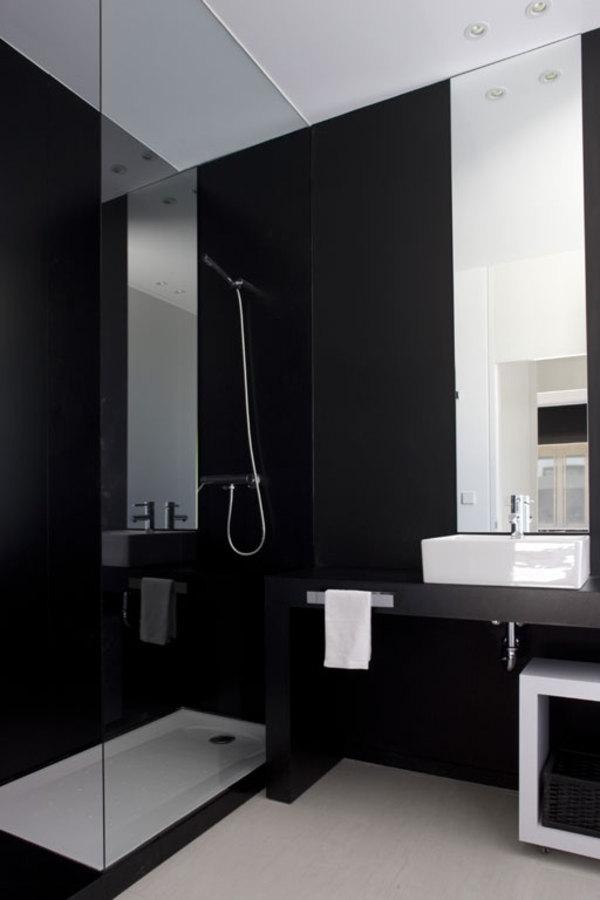 Sharp Casual Black And White Bathroom Design listed in: Black and...