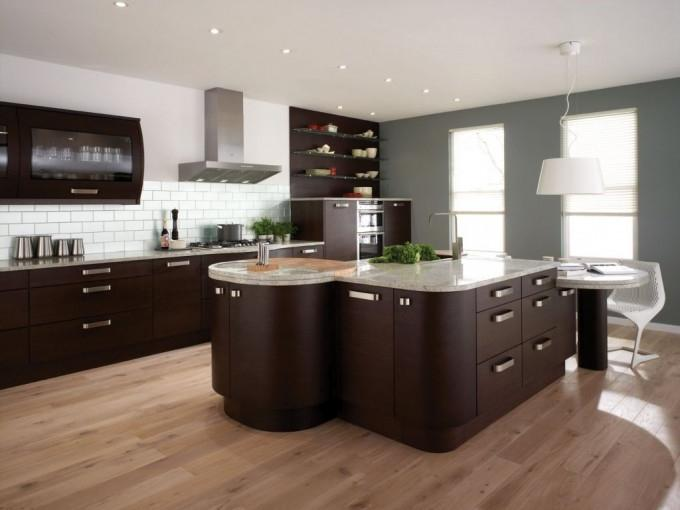 Kitchen decoration sepia and brown on the floor, wall color puih,...
