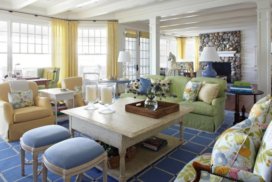pastel interiors family room cottage 10 Colorful Ways to Use...