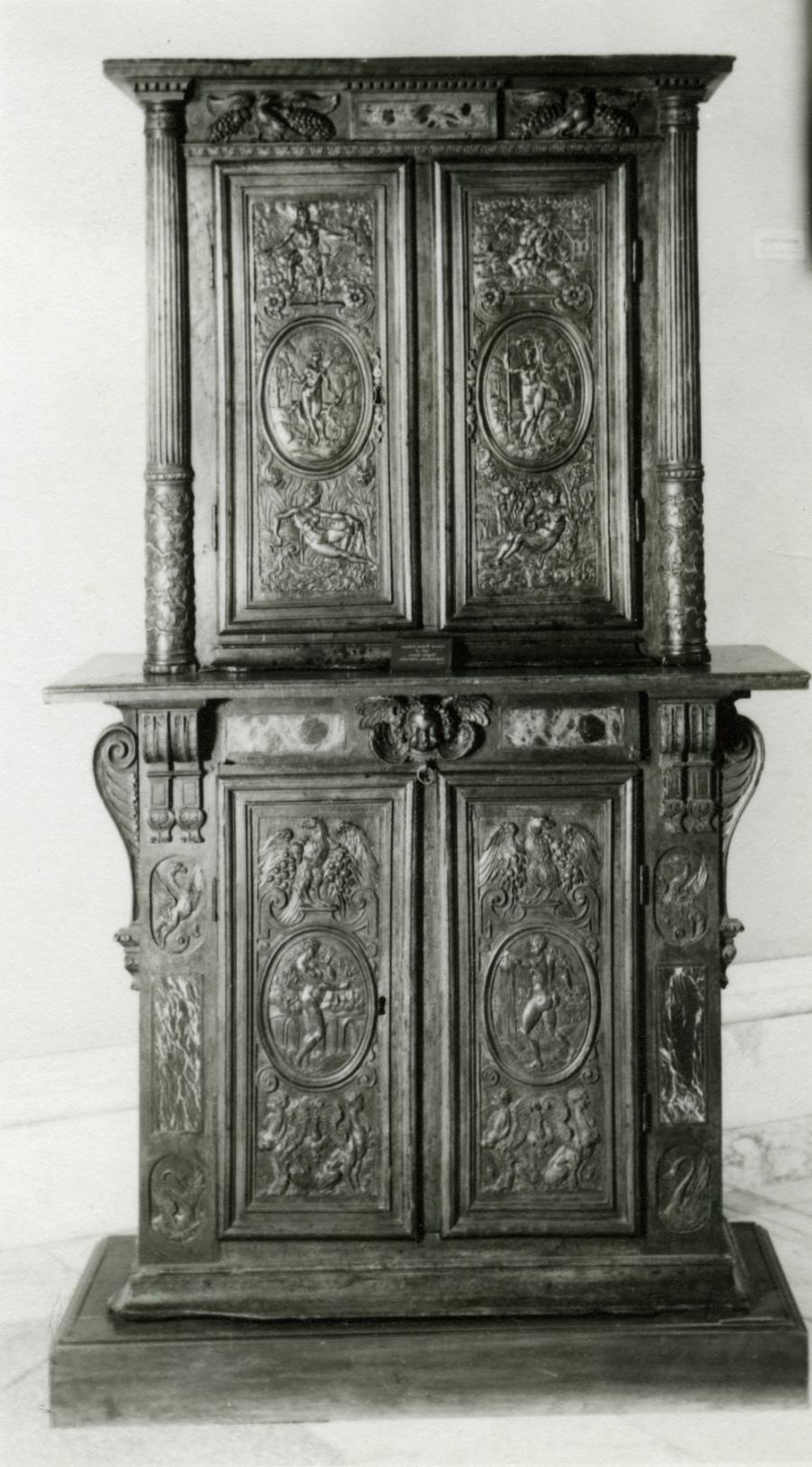 Crafted by Hughes Sambin (1570-1600), double cabinet features the...