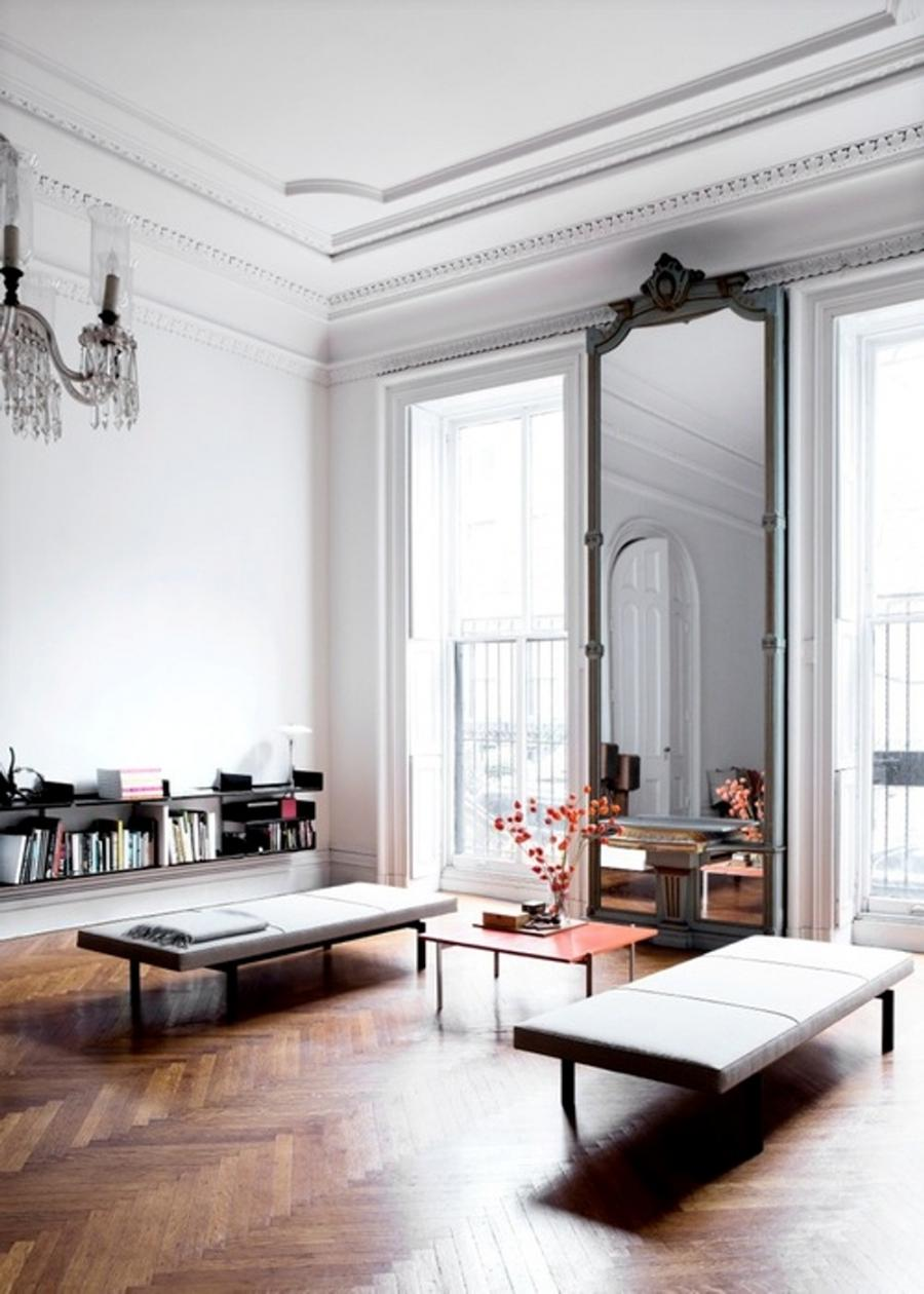 French Interior Design with Bench and Tall Mirror Windows