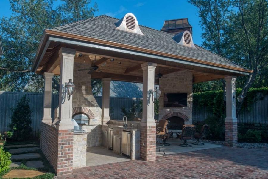 Brick gazebo photo for Outdoor kitchen designs houston texas