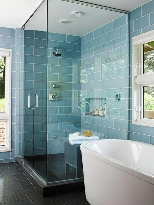 Pin It! blue glass bathroom wall tile bhg