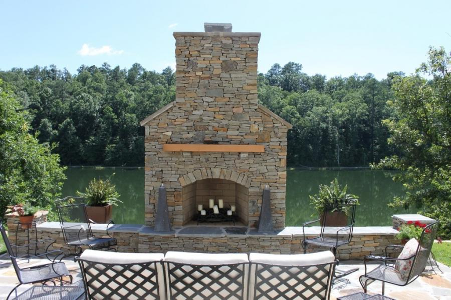 Brick Fireplace Outdoor Photo