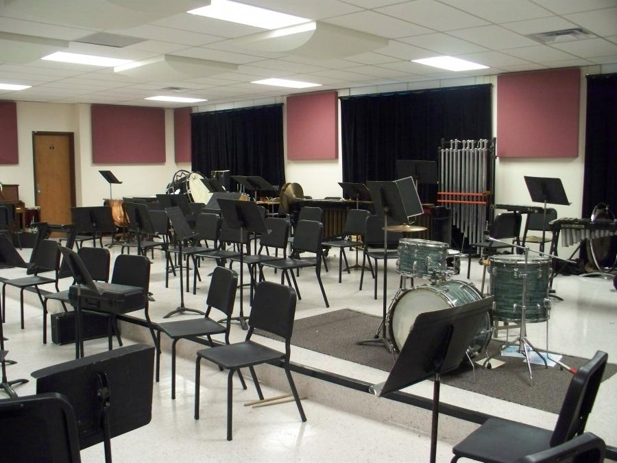 The band room is home and practice space for the numerous award...